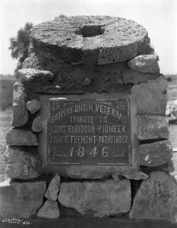 A monument in Rubidoux contains one of the grist mill stones found on Benjamin Ables' land. The stones were from the mill built by Louis Robidoux. Photo courtesy of Riverside Metropolitan Museum