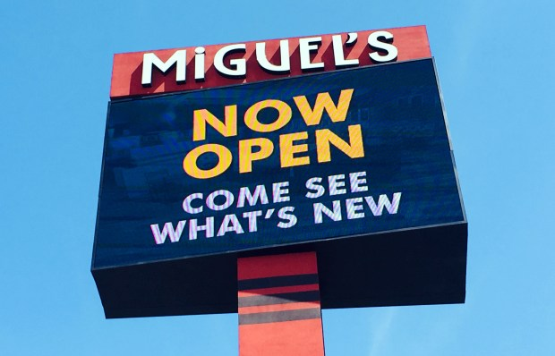 Miguel's California Mexican Cocina has a new giant sign visible on the 91 Freeway.