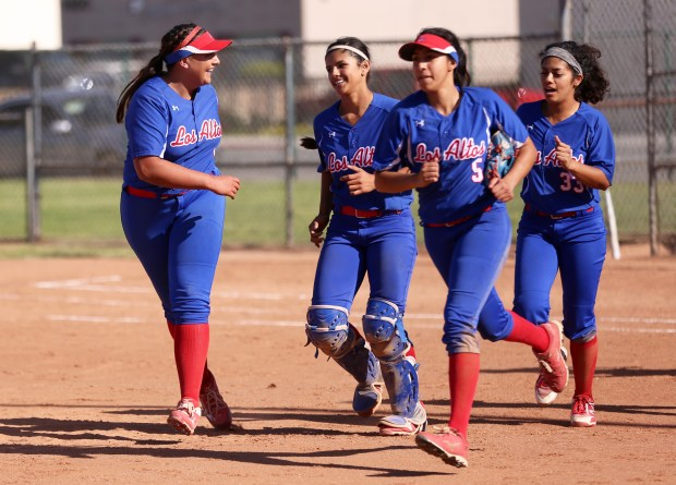 Los Altos' Savannah Diederich (left) celebrates a 2-0 win over Charter Oak with her team at Charter Oak High School in Covina, Calif. on Tuesday, April 17, 2018. (Correspondent photo by Trevor Stamp)