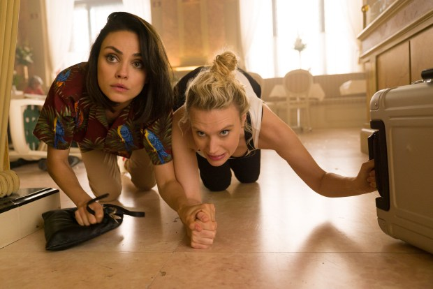 "Mila Kunis as ""Aubrey"" and Kate McKinnon as ""Morgan"" in THE SPY WHO DUMPED ME."