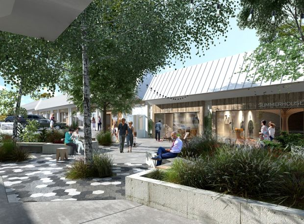 Plans for the Woodland Hills Village Plaza Shopping Center, 20929 Ventura Blvd., which is being rebranded as the Valley Country Mart. (Rendering courtesy Runyon Group)