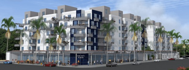 Renderings of the proposed Van Nuys Plaza apartment complex. (Rendering via Ketter Construction)
