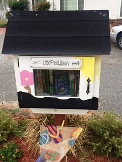 This Little Free Library at Kari Gers' home on 33rd and Leroy in San Bernardino had to be moved back 40 feet to prevent certain students from vandalizing it. (Photo courtesy of Kari Gers)