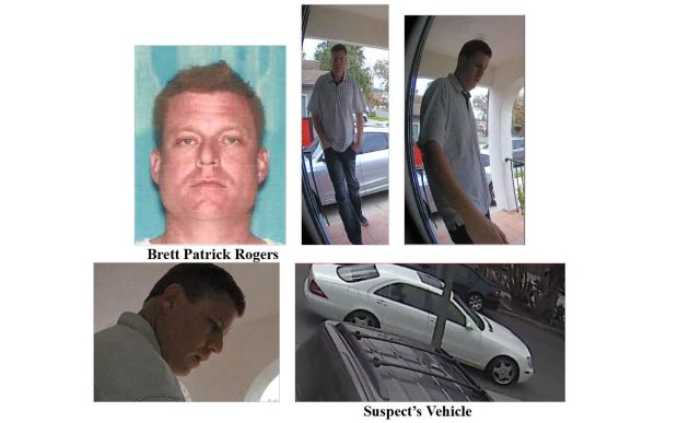 The Los Angeles Police Department circulated these images in their effort to find Brett Patrick Rogers, who they suspect of being the Funeral Day Burgler. He is suspected of robbing homes in Sherman Oaks and West LA while the residents were away at funerals.
