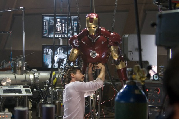 "Robert Downey Jr. is seen in the 2008 movie ""Iron Man."" The iconic suit he wore in the film is missing from a Pacoima warehouse, say Los Angeles police."