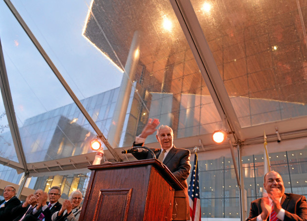George Deukmejian talks at the dedication ceremony for the new Long Beach court house named after the former governor in Long Beach, CA. Thursday November 21, 2013. (Thomas R. Cordova/Press-Telegram/Daily Breeze)