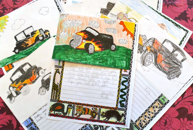 "John Eggum, 88, has cancer. His neighbor's adult son, school teacher Sean King, told his students at Howard Wood Elementary School in Torrance that John has been ""having a hard time"" and has not been feeling well. He also told the kids about John's love/passion of hot rods . Sean had all 27 of his students kids send John letters of love and encouragement and it raised John's spirits and warmed his heart.Photo by Robert Casillas"