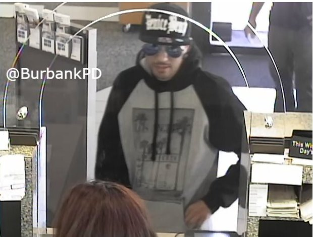 A robbery surveillance image released after the arrests of James Hamill, 27, and Samantha Yaworski, 22, both of Valencia.Image courtesy Burbank Police Department