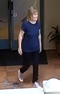 Officials ask for the public's help for information regarding the Rolling Hills Estates stabbing victim. Susan Leeds is shown in security footage the day she was killed at the Promenade on the Peninsula mall. (Photo courtesy of Los Angeles County Sheriffs)