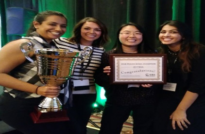 Cal State Fullerton graduate students, from left Michelle D'Mello, Melissa Sanchez, Kathy Hong-Lee and Bismah Dadabhoy took first place in the 2018 California Speech-Language-Hearing Association Knowledge Bowl. (Photo courtesy of Cal State Fullerton)
