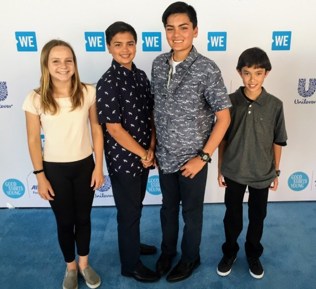 Zoe Neeve, Alex Segal, Max Segal, and Micah Allen represent Niguel Hills Middle School Student PTSA at WE Night of Inspiration held on April 18, 2018. (Courtesy of Niguel Hills Middle School PTSA)