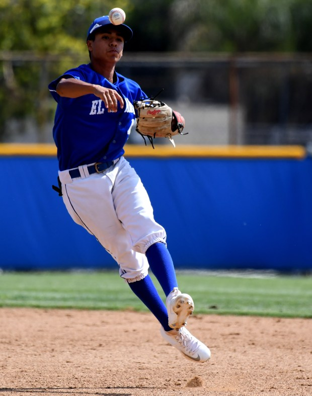 El Rancho second baseman Daniel Valles throws out Muir's Angel Lopez (not pictured) in the second inning of a quarterfinal playoff baseball game at Muir High School in Pasadena, Calif., on Friday, May 25, 2018. El Rancho won 3-0. (Photo by Keith Birmingham, Pasadena Star-News/SCNG)