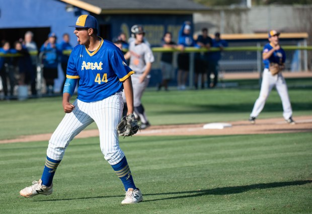 Bishop Amat's Izeah Muniz celebrates after ground Cypress' Nathan Nam for a game-ending double play during a quarterfinals game of CIF-SS Division 1 playoffs at Bishop Amat in La Puente on Friday, May 25, 2018. (Photo by Kyusung Gong/Contributing Photographer)