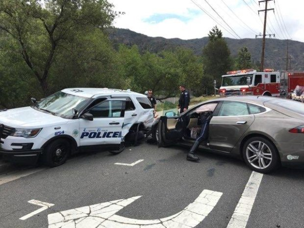 A police vehicle, shown here, was totaled after a Tesla on autopilot smashed into it on Tuesday, May 29. (Photo Courtesy of the Laguna Beach Police Department)