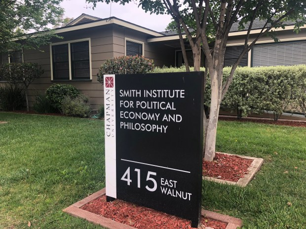 Chapman University's Smith Institute for Political Economy and Philosophy was founded in December 2016 with a $5 million donation from the Charles Koch Foundation and two other gifts. It has touched off a controversy on campus over whether its hiring and its research are ideologically influenced by the conservative foundation. (Photo by Margot Roosevelt, Orange County Register/SCNG)