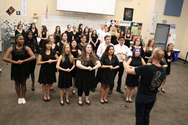 The Rancho Mirage High School Choir, seen in a photo from the school's website, will perform the National Anthem on Thursday, May 24, 2018, in a tribute to veterans at the Palm Desert campus of CSU San Bernardino.