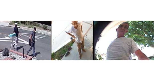 Suspects in residential burglaries in the Tarzana and Woodland Hills area are seen in security video images. (Images courtesy of the LAPD)