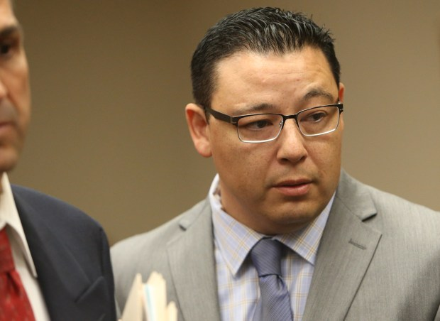 Beaumont City Councilman Mark Orozco enters a Riverside courtroom before pleading guilty to two felony counts on Thursday, Sept. 28, 2017.(Stan Lim, The Press-Enterprise/SCNG)