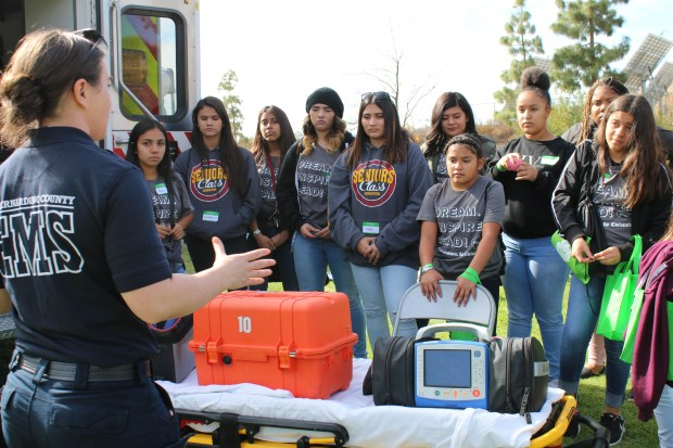 Girl Scouts learn about EMS training at Crafton Hills College. Photo courtesy of Girl Scouts of San Gorgonio