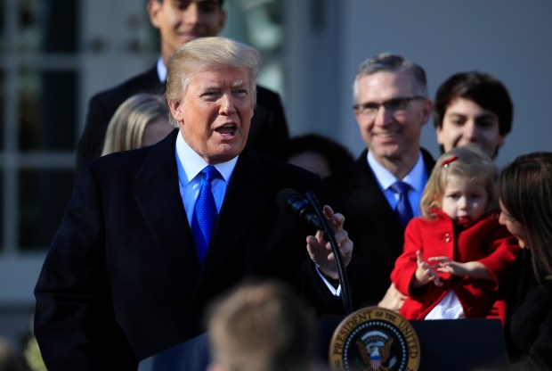 In this Jan. 19, 2018 file photo, President Donald Trump speaks to participants of the annual March for Life event, in the Rose Garden of the White House in Washington. The Trump administration will resurrect a Reagan-era rule that would ban federally-funded family planning clinics from discussing abortion with women, or sharing space with abortion providers, a senior White House official said Thursday, May 17, 2018. (AP Photo/Manuel Balce Ceneta, File)