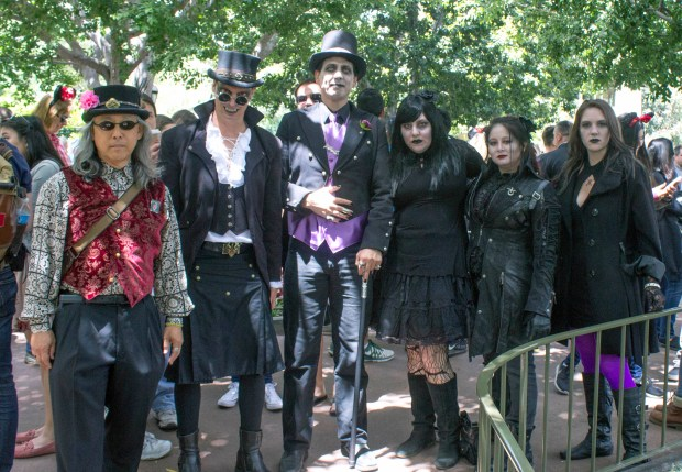 "This bunch all dressed up for ""Bats Day"" at Disneyland were in line for the Haunted Mansion. (Photo by Mark Eades, Orange County Register/SCNG) Taken in Anaheim at Disneyland Resort on Sunday, May 7, 2017."