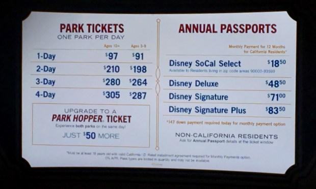 In this 2017 photo of then-prices at Disneyland, monthly payments were so ingrained in the pricing structure that the ticket booths didn't even display the full annual price. Photo by Marla Jo Fisher, Orange County Register