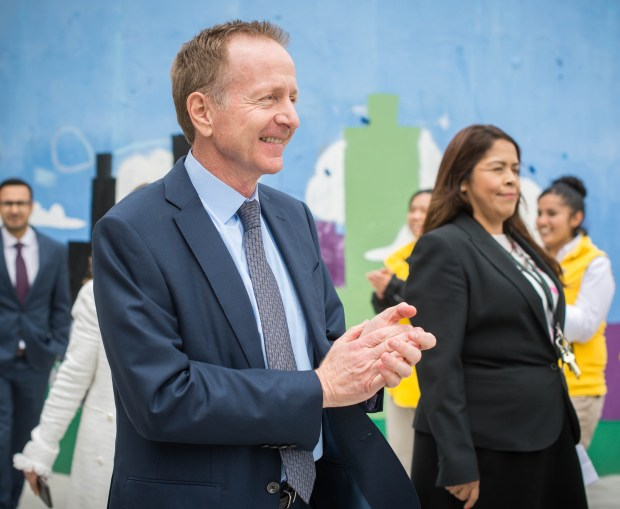 New Los Angeles Unified School District Superintendent Austin Beutner introduces himself at his first press conference on Wednesday, May 2, 2018, at Belmont High School. (Photo by Sarah Reingewirtz, Pasadena Star-News/SCNG)