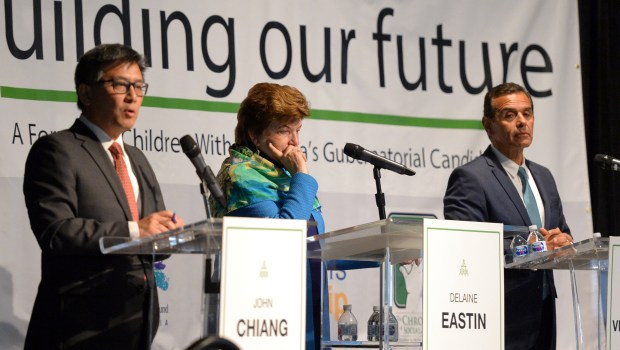 Candidates John Chiang, Delaine Eastin and Antonio Villaraigosa during a gubernatorial forum at LA Trade Tech, Tuesday, May 15, 2018. (Photo by David Crane, Los Angeles Daily News/SCNG)