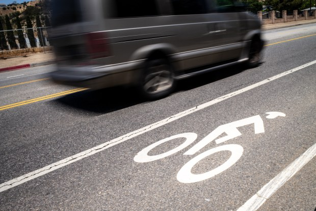 Residents along La Tuna Canyon Road fear driving or bicycling on their own street, a relatively sleepy drag through in Sun Valley where drivers are often speeding and drive aggressively. Bicyclists do not feel comfortable riding along the bike lanes that are painted on the road   (Photo by David Crane/Los Angeles Daily News-SCNG)