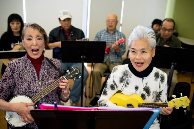 Sakura Roberts and Hoshiko Becker practice with Ukes for Little Tokyo at the Japanese American Cultural and Community Center on Thursday, April 26, 2018. The weekly Japanese language ukulele class for seniors is in its second year at the JACCC. (Photo by Sarah Reingewirtz, Pasadena Star-News/SCNG)