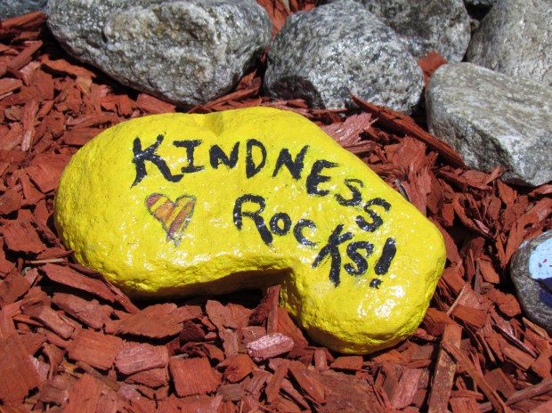 Brightly painted rocks with inspirational sayings were created by Adult Life Skills program students and dedicated as a Kindness Rock Garden in Menifee.Photo by Diane A. Rhodes, contributing photographer