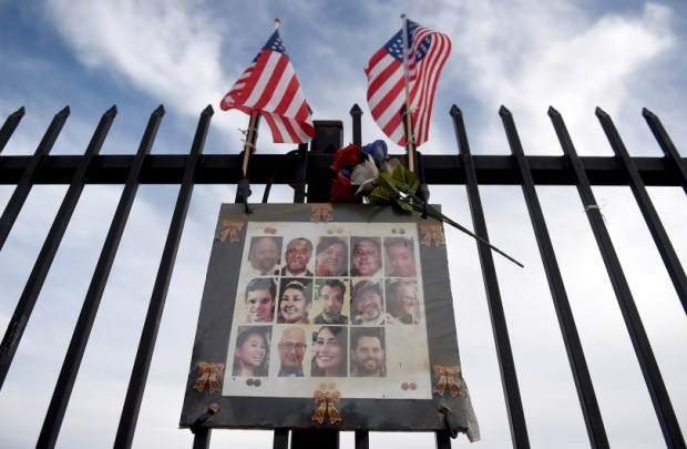 Two years after the Dec. 2, 2015 terrorist attack in San Bernardino, small remnants remain of the memorial at the corner of Waterman Avenue and Orange Show Road for the victims of the Inland Regional Center mass shooting as seen Nov. 30, 2017. (File photo by John Valenzuela/The Sun/SCNG)