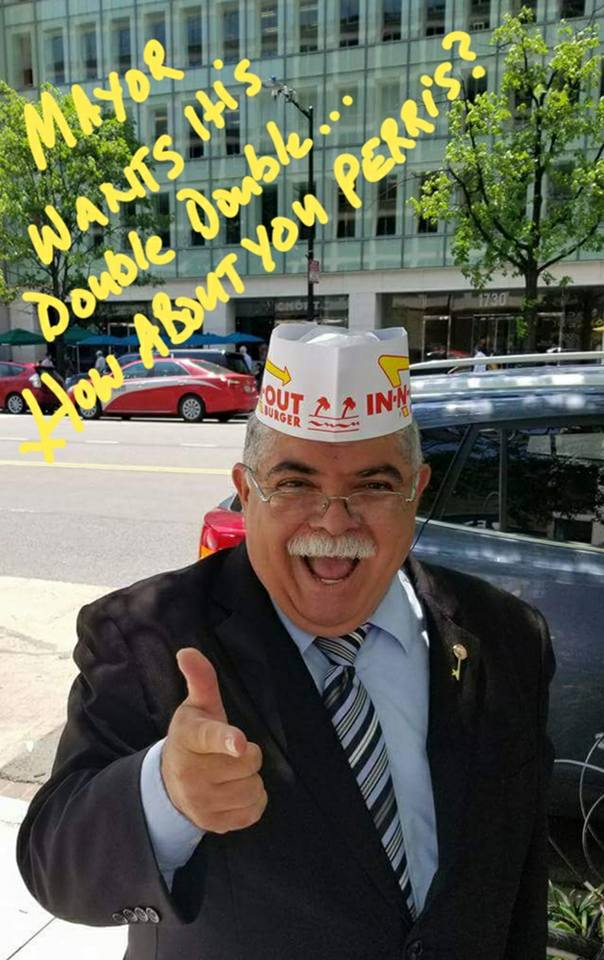 Perris Mayor Michael Vargas poses in an in-N-Out hat in a Facebook post hoping to encourage the hamburger restaurant to open in his city. (Photo from Facebook)