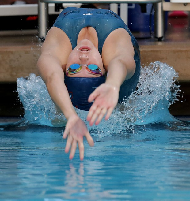 Heritage's Katelyn Thomas at the start of the 100 yard backstroke during the CIF Southern Section Division 3 swimming finals at Riverside Aquatics Center Thursday in Riverside, Calif. May 10, 2018. (TERRY PIERSON,THE PRESS-ENTERPRISE/SCNG)