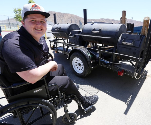 West Valley High School's Nick Tusant helped build this barbecue that is used at school and other events on the Hemet campus. (Photo by Frank Bellino, contributing photographer)
