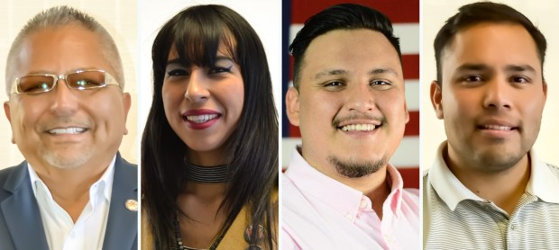 """Candidates for the San Bernardino city council's 1st ward are, from the left; Gil Botello, M. """"Magie Noir"""" Castaneda, Miguel Rivera, and Ted Sanchez. (Courtesy photos)"""