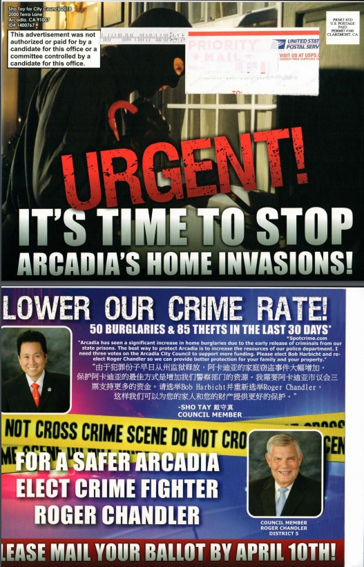 This mailer sent by Arcadia Mayor Pro Tem Sho Tay supporting candidates Roger Chandler and Bob Harbicht has created controversy in the city even after the April 10 election. (Courtesy of April Verlato)
