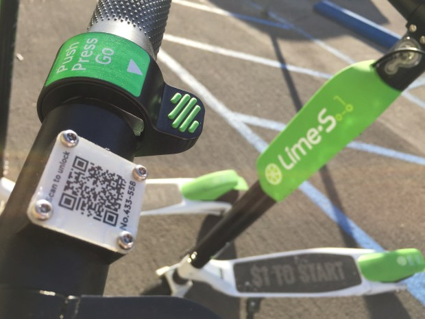 At first Lime Bikes exploded into the San Pedro streets and now it appears that Lime Scooters have shown up in town. A group of them was outside Crafted and Brouwerij West Sunday June 3, 2018. Photo By Charles Bennett