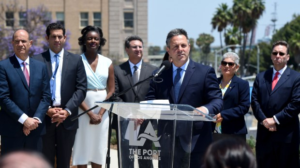 Los Angeles City Councilman Joe Buscaino speaks to the crowd in San Pedro on Thursday, June 7, 2018. The gathering of elected officials, Port of Los Angeles officials and community leaders celebrated the completion of the $15.6 million Harbor Boulevard Roadway Improvements Project in San Pedro. The street realignment project improves traffic flow and safety for both vehicles and pedestrians, and provides enhanced public access to the LA Waterfront. A refurbished Plaza Park overlooking the LA Harbor, as well as extensive new hillside landscaping along Miner Street, were also part of the project.(Photo by Brittany Murray, Press Telegram/SCNG)