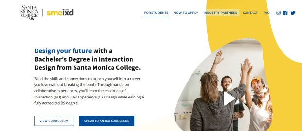 Santa Monica College promotes its four-year Interaction Design degree program with a dedicated web site at ixd.smc.edu.