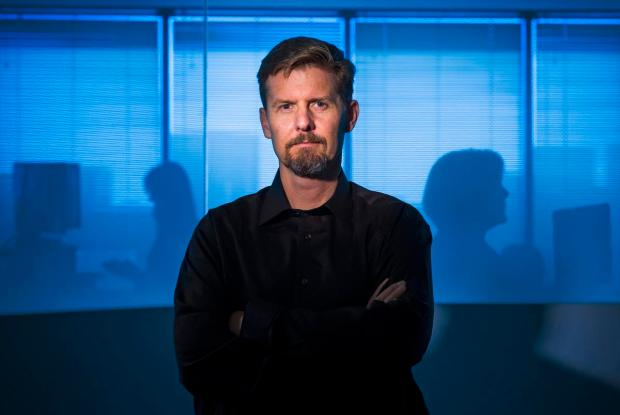 Stuart McClure, founder and CEO of Cylance, a cybersecurity company is shown at the company's previous headquarters at Irvine Towers. The company has raised $120 million from investors, Cylance said June 19. (LEONARD ORTIZ, ORANGE COUNTY REGISTER)