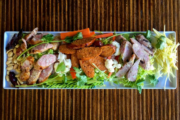 Sampler of three styles of Thai sausage at Bangkok Avenue in Huntington Beach. (Photo by Brad A. Johnson, Orange County Register/SCNG)