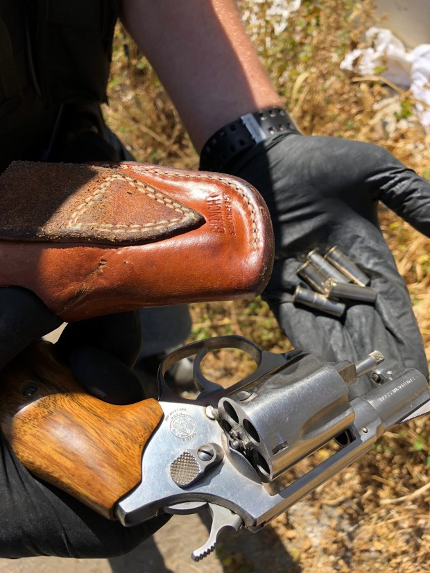 Pomona Police said a known gang member on a bicycle tossed a loaded gun into some bushes as police pursued him Saturday. Photo courtesy Pomona Police Department.