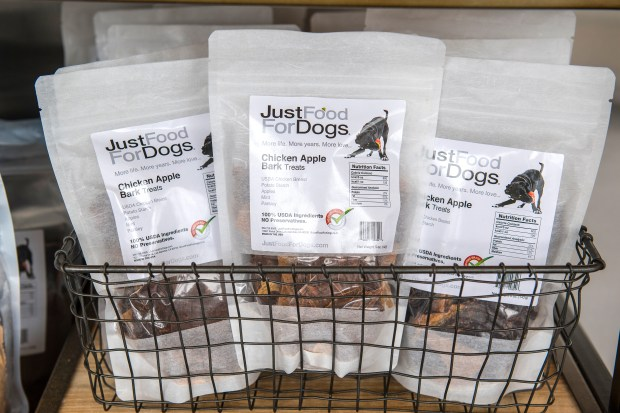 Packages of dog treats at Just Food For Dogs, based in Los Alamitos, at the store in Costa Mesa. The company's healthy food is made of fresh vegetable and meats and fish. (Photo by Mark Rightmire, Orange County Register/SCNG)