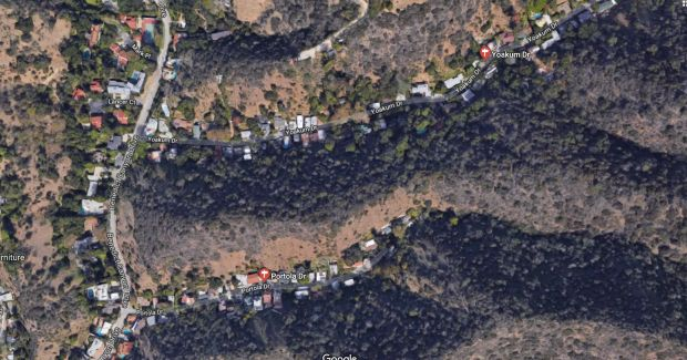 The Portola fire near Benedict Canyon Drive, burning in rugged terrain, is 80 percent contained as of Thursday morning, June 14, 2018. Firefighters expect 100 percent containment by evening. (Google Maps)