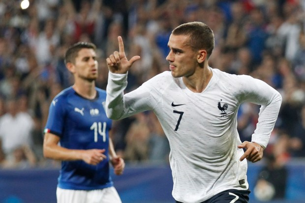 France's Antoine Griezmann celebrates scoring his side's 2nd goal during a friendly soccer match between France and Italy at the Allianz Riviera stadium in Nice, southern France, Friday, June 1, 2018. (AP Photo/Claude Paris)