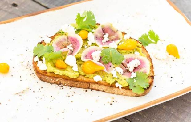 Avocado toast with Peruvian peppers, shaved watermelon radish, cilantro leaves, and crumbled goat cheese served at Sessions West Coast Deli.