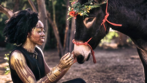 Bukola Ogunmola, as Peaseblossom, in Independent Shakespeare Co.'s A Midsummer Night's Dream that begins previews on June 30 at the Old Zoo in Griffith Park. (Photo by Mike Ditz/courtesy of Independent Shakespeare Co.)