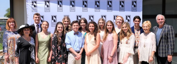Music Theatre West Scholarship co-chairs Jana Kelly, Donna Estrin; 2018 scholarship honorees Mercy Thornton, Zachary Fogel, Emma Kremer, Allison Bossart, Aidan Flaherty, Kailee Kakazu, Abby Mohaddes, Cassidy Love, Maegan Hood, Samantha Gault, McKenna Wells, Lucas Grenda; Footlighters President Marnos Lelesi; MTW Executive Director/Producer, Paul Garman