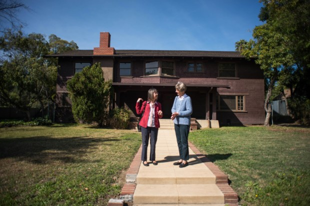 Sue Mossman, exec director of Pasadena Heritage, and Claire Bogaard, a Pasadena Heritage board member, visit the childhood home of Julia Child on South Pasadena Avenue in Pasadena on Friday, March 9, 2018. The two are working on getting the home, owned by Caltrans, on the National Register of Historic Places. (Photo by Sarah Reingewirtz, Pasadena Star-News/SCNG)